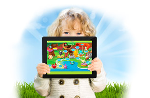 Child holding tablet with Reading Eggs Map 12